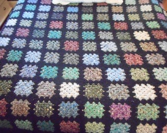 Granny square afghan, black, full/queen