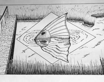 Marsh Dreams, Redfish Art, Coastal Art, Fish Art, Free Shipping