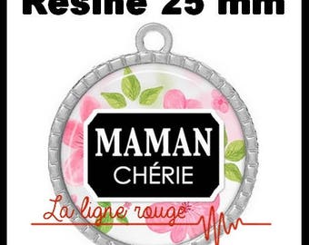 Silver Pendant round Cabochon 25 mm epoxy resin - mommy (3157)