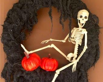 Halloween Skeleton and Pumpkins