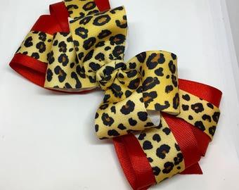 Christmas bow, Big Christmas bow, Girls Christmas bow, Red Christmas bow, Red and leopard bow, animal print bow, holiday bow