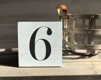 farmhouse sign-wood sign-number sign-family sign-shabby sign-number 6 sign-number six sign-hand painted sign-wall decor-shelf sitter