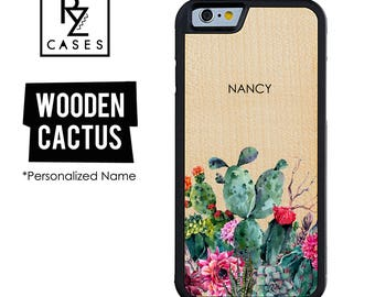 Wooden Phone Case, Cactus Phone Case, Wooden Personalized Case, Cactus iPhone, iPhone 7 Case, iphone 6, Gift for Her, iPhone 6s, iPhone 5