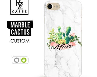 Marble Phone Case, Cactus Custom Case, Cacti Phone Case, iPhone 7 Case, Personalized Gift for Her, iPhone 7 Plus, iPhone 6 Case, Custom Case