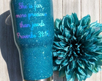 Proverbs 31:10, Personalized tumbler, glitter cup, glitter monogram tumbler, custom tumbler cup, glitter tumbler, Proverbs 31,