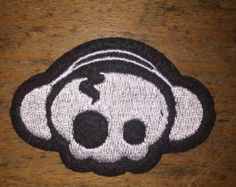 Baby skull headphones patch rock band
