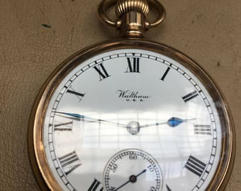 waltham pocket watch gold capped