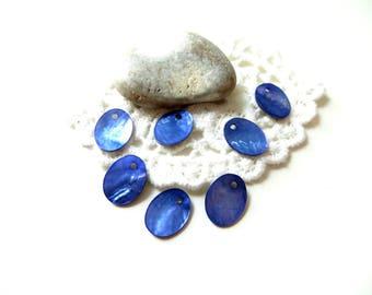 10 blue mother of Pearl sequins 12x9mm