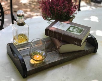 Wooden Serving Tray with Leather Handles | Men's gift | Whiskey | Cognac | Office deco | Executive Tray | Father's day Gift | Business Gift