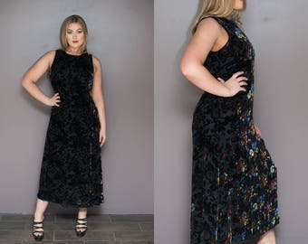 90s Velvet Dress Sheer Black Burnout Dress Maxi Dress Floral Print Iridescent Goth Grunge Sleeveless Party Dress