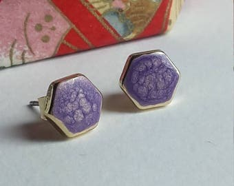 Honeycomb - hexagon stud earrings with purple colour accent