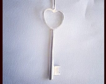 Silver heart key necklace