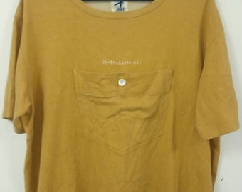 Vintage Rare HAI SPORTING GEAR Issey Miyake t-Shirt Big Pocket | kangaroo pocket