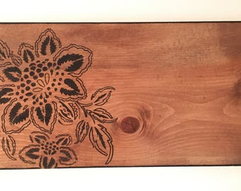 Wood Burned Flower Wall Hanging