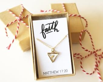 Mustard Seed Necklace, Faith necklace, Christian necklace, triangle faith necklace, dainty gold necklace, Christian Christmas gift,