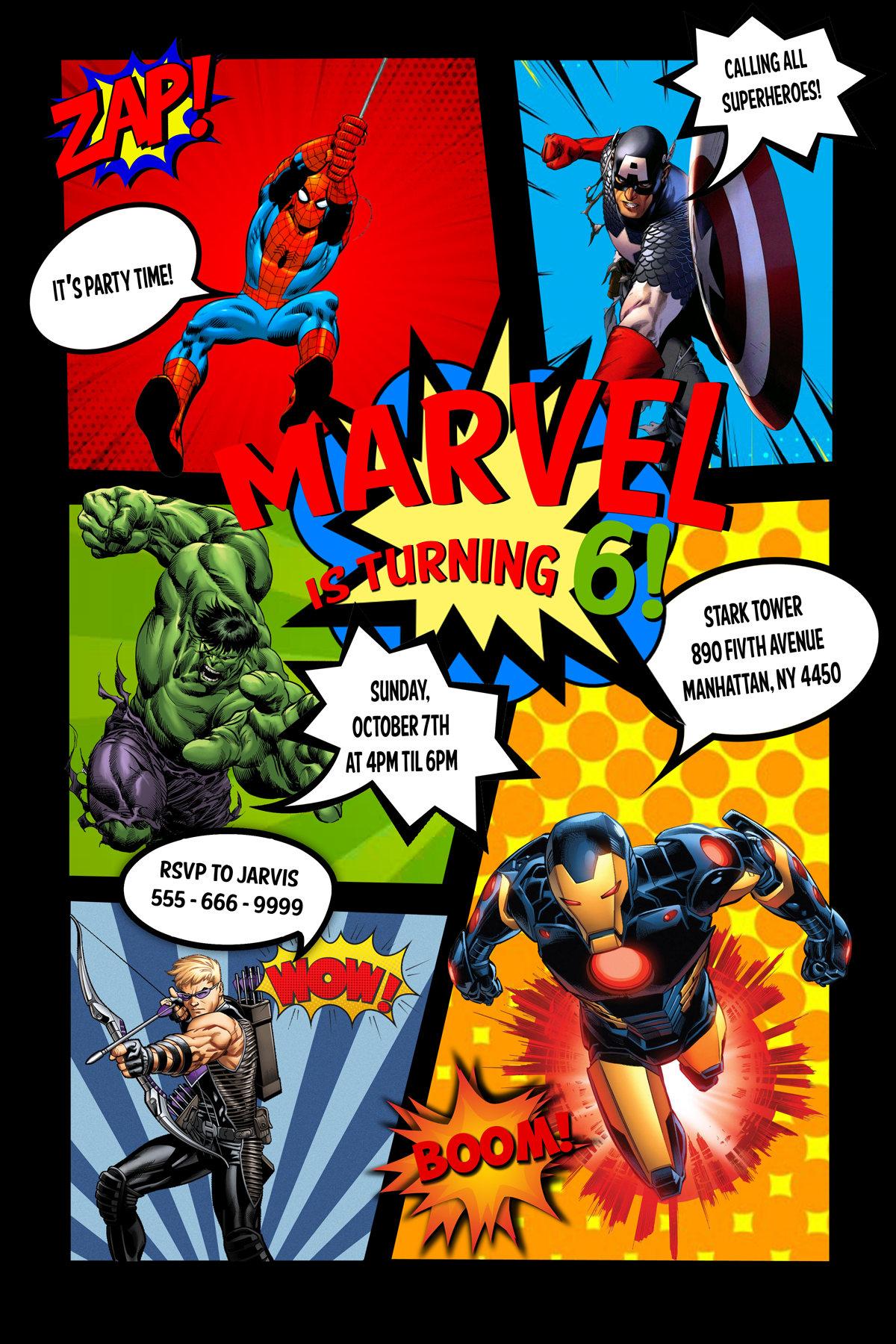 Superhero Comic Invitation, Super Heroes Invitation, Superhero ...