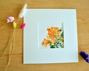 Original Flower Painting Watercolor Pyrostegia venusta (Ker-Gawl.) Miers