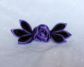 Black and purple leaves and pink flower hair clip