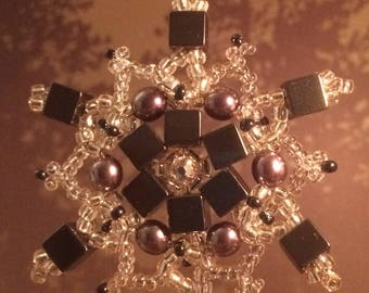 Beaded Snowflake Star Ornament