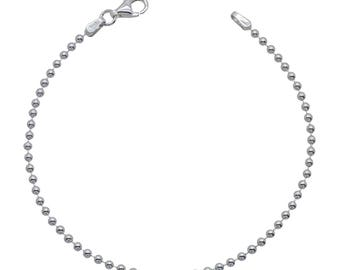 "Sterling Silver Ball Bead Bracelet 2mm 6.5"" 7"" 7.5"" inches"