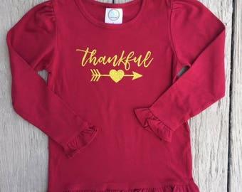 Girls Maroon Thankful Shirt