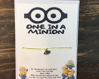 One in a million wish bracelet.One in a minion wish bracelet.Minion wish bracelet.Minion bracelet.Minion jewelry.Despicable me wish bracelet