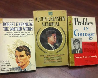 Set of 3 Vintage Kennedy Books, John F. Kennedy Paperbacks, 1960's Paperbacks, Profiles In Courage, Kennedy Memorial Books