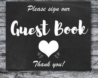 Guest Book Sign, Chalkboard Sign, Printable Wedding Sign
