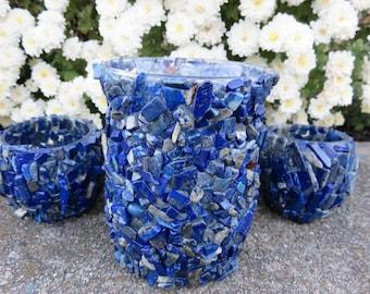 Lapis Lazuli Candle Holder Set