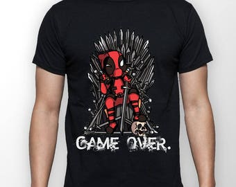 GAME OVER Deadpool vs. Game of Thrones T Shirt mens Deadpool Boyfriend gift