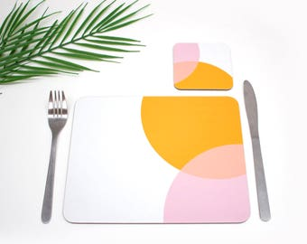 Colourful cork based Placemats | Orange and Pink | Tabletmat set | Colour Pop | Table Setting | Modern Home | Scandi Home | Place mat