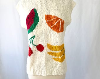 Novelty Print Fruit Knit Sweater    Sweater Vest    Made in Taiwan ROC    Gift for Women    Unique Gifts    Vintage Clothing