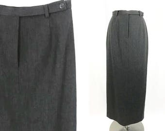 Dark Gray High Waist Pencil Skirt  || Vintage Clothing || Size 4