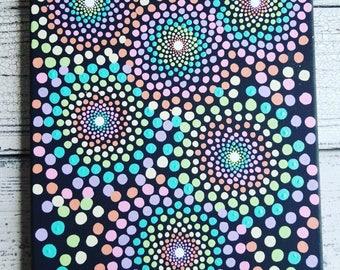 Pastel rainbow mandala dot art painting // 10x14 inch mandala canvas // mandala home decor // mandala wall art // rainbow mandala decor