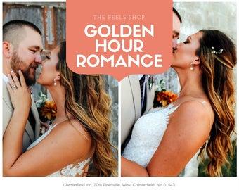 GOLDEN HOUR ROMANCE- Wedding Photographer Preset, Sunset Tones, Dusk lighting, Romantic Preset