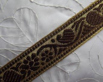 1 meter of medieval gold braid / woven Brown flowers