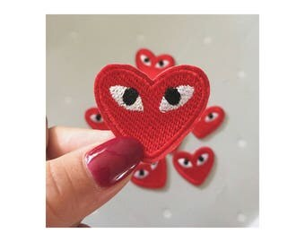 Eye heart patches/heart eye patches/iron on/patches/denim/cool stuff/ style/red patch