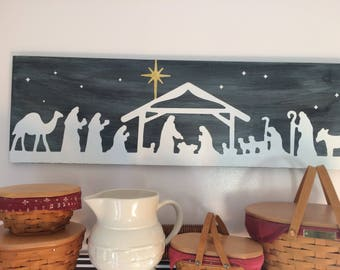 "Rustic Nativity Sign 12""x36"""