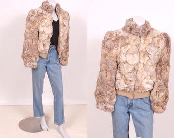 Vintage Fur Coat    70s Rabbit Fur Bomber Jacket    Small Medium Vintage Fur Coat