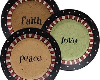 Love Peace Faith Plates
