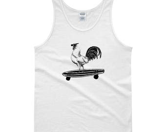 Rooster on a Skateboard, Funny Chicken Lovers Tank Top