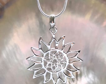 SOLID STERLING SILVER - Elegant Ajoure Sunflower Pendant