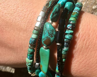 Beaded Bracelet with Multiple Strands of Turquoise and silver Glass Beads