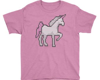 Knitted Unicorn Youth Short Sleeve T-Shirt
