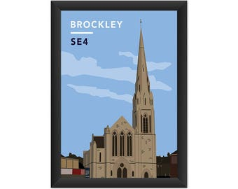 Brockley St. Andrew's Church SE4  - Giclée Art Print - South London Poster