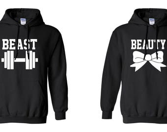 Beast Beauty COUPLE Printed Adult Unisex Hooded Sweatshirt  Hoodies for Men and Women Valentine's Day Matching Clothes