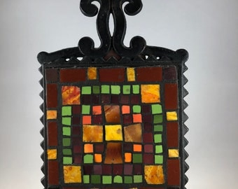 Handcrafted vintage mosaic cast iron ceramic wall hanging stand