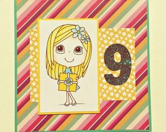 9th BIRTHDAY - Handmade Card