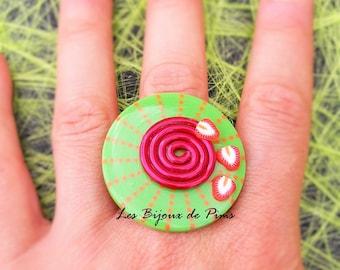 Tutti frutti green and Red Ring