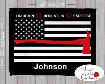 Personalized Thin Red Line Firefighter Blanket